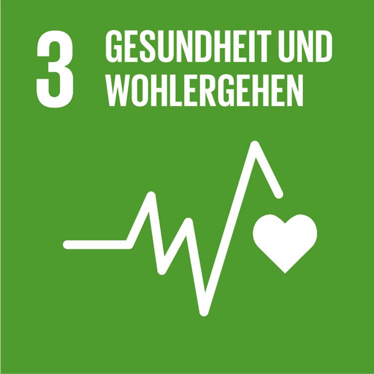 Symbol: SDG Ziel 3- Gesundheit und Wohlergehen