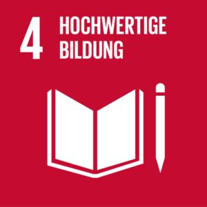 Symbol: SDG Ziel 4- Hochwertige Bildung