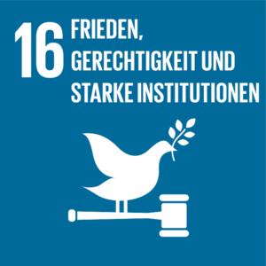 Symbol: SDG Ziel 16- Frieden und Gerechtigkeit