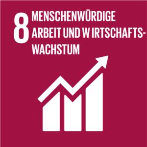 Symbol: SDG Ziel 8 - Menschenwürdige Arbeit